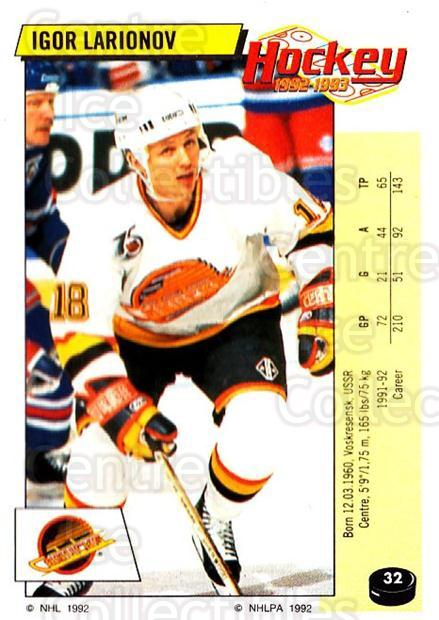 1992-93 Panini Stickers #32 Igor Larionov<br/>7 In Stock - $1.00 each - <a href=https://centericecollectibles.foxycart.com/cart?name=1992-93%20Panini%20Stickers%20%2332%20Igor%20Larionov...&quantity_max=7&price=$1.00&code=175702 class=foxycart> Buy it now! </a>
