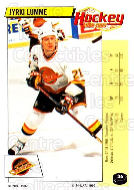 1992-93 Panini Stickers #36 Jyrki Lumme<br/>7 In Stock - $1.00 each - <a href=https://centericecollectibles.foxycart.com/cart?name=1992-93%20Panini%20Stickers%20%2336%20Jyrki%20Lumme...&quantity_max=7&price=$1.00&code=175706 class=foxycart> Buy it now! </a>