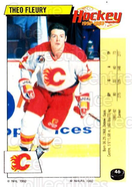 1992-93 Panini Stickers #46 Theo Fleury<br/>2 In Stock - $1.00 each - <a href=https://centericecollectibles.foxycart.com/cart?name=1992-93%20Panini%20Stickers%20%2346%20Theo%20Fleury...&quantity_max=2&price=$1.00&code=175716 class=foxycart> Buy it now! </a>