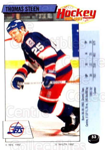 1992-93 Panini Stickers #53 Thomas Steen<br/>7 In Stock - $1.00 each - <a href=https://centericecollectibles.foxycart.com/cart?name=1992-93%20Panini%20Stickers%20%2353%20Thomas%20Steen...&quantity_max=7&price=$1.00&code=175724 class=foxycart> Buy it now! </a>