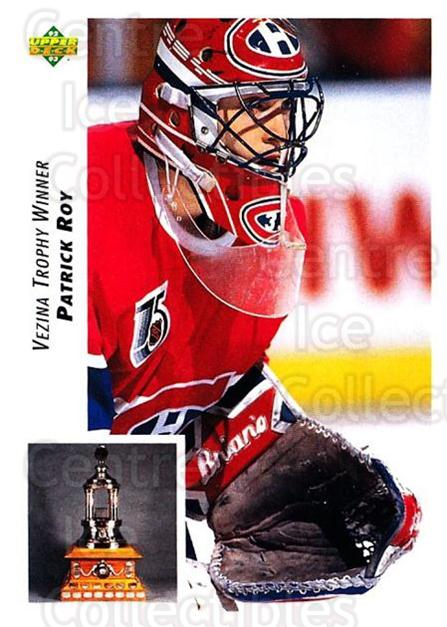 1992-93 Upper Deck #438 Patrick Roy, Vezina Trophy<br/>5 In Stock - $2.00 each - <a href=https://centericecollectibles.foxycart.com/cart?name=1992-93%20Upper%20Deck%20%23438%20Patrick%20Roy,%20Ve...&quantity_max=5&price=$2.00&code=176828 class=foxycart> Buy it now! </a>