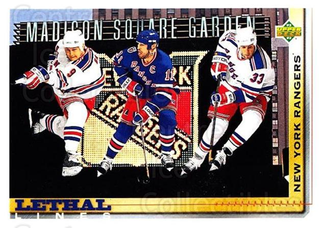 1992-93 Upper Deck #453 Mark Messier, Tony Amonte, Adam Graves<br/>4 In Stock - $1.00 each - <a href=https://centericecollectibles.foxycart.com/cart?name=1992-93%20Upper%20Deck%20%23453%20Mark%20Messier,%20T...&quantity_max=4&price=$1.00&code=176845 class=foxycart> Buy it now! </a>