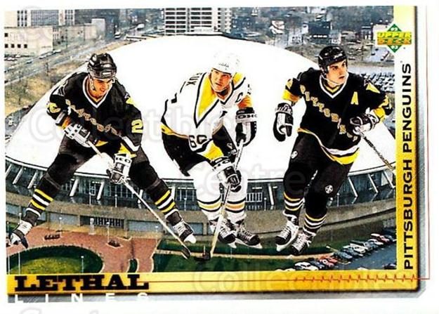 1992-93 Upper Deck #454 Mario Lemieux, Kevin Stevens, Rick Tocchet<br/>1 In Stock - $1.00 each - <a href=https://centericecollectibles.foxycart.com/cart?name=1992-93%20Upper%20Deck%20%23454%20Mario%20Lemieux,%20...&price=$1.00&code=176846 class=foxycart> Buy it now! </a>