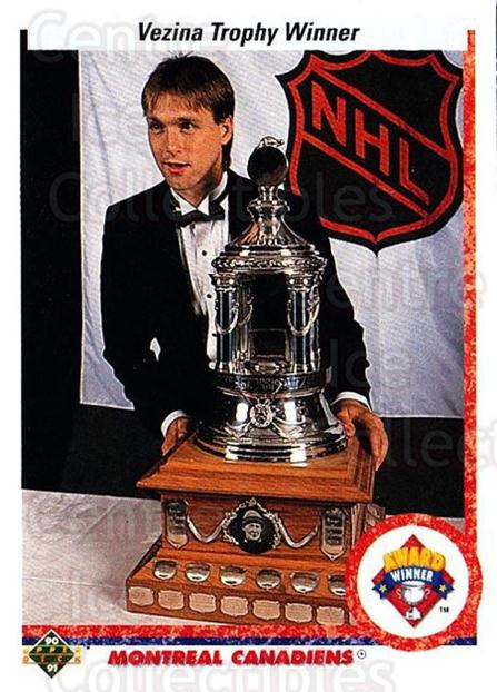 1990-91 Upper Deck #207 Patrick Roy, Vezina Trophy<br/>4 In Stock - $2.00 each - <a href=https://centericecollectibles.foxycart.com/cart?name=1990-91%20Upper%20Deck%20%23207%20Patrick%20Roy,%20Ve...&quantity_max=4&price=$2.00&code=17687 class=foxycart> Buy it now! </a>
