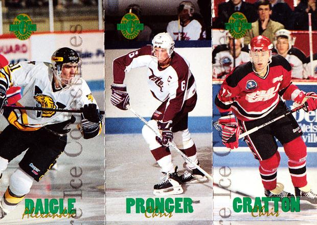 1993 Classic Four-Sport Tri-Cards #4 Alexandre Daigle, Chris Pronger, Chris Gratton<br/>2 In Stock - $5.00 each - <a href=https://centericecollectibles.foxycart.com/cart?name=1993%20Classic%20Four-Sport%20Tri-Cards%20%234%20Alexandre%20Daigl...&quantity_max=2&price=$5.00&code=177223 class=foxycart> Buy it now! </a>