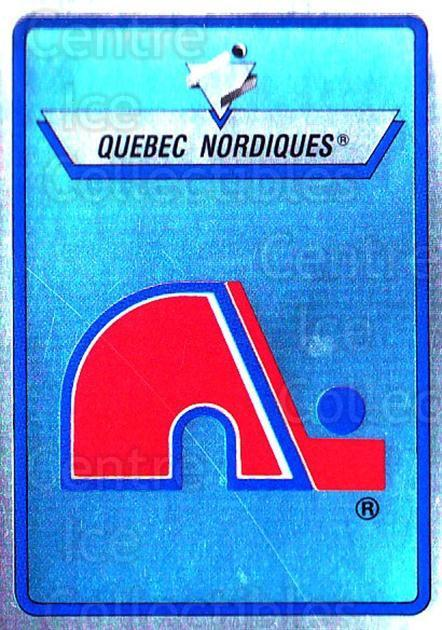 1990-91 Panini Stickers #147 Quebec Nordiques<br/>6 In Stock - $1.00 each - <a href=https://centericecollectibles.foxycart.com/cart?name=1990-91%20Panini%20Stickers%20%23147%20Quebec%20Nordique...&quantity_max=6&price=$1.00&code=17879 class=foxycart> Buy it now! </a>