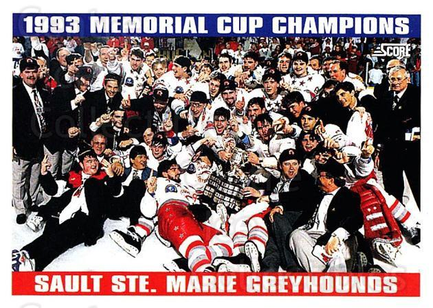 1993-94 Score USA #486 Sault Ste. Marie Greyhounds, Memorial Cup<br/>4 In Stock - $1.00 each - <a href=https://centericecollectibles.foxycart.com/cart?name=1993-94%20Score%20USA%20%23486%20Sault%20Ste.%20Mari...&quantity_max=4&price=$1.00&code=178985 class=foxycart> Buy it now! </a>