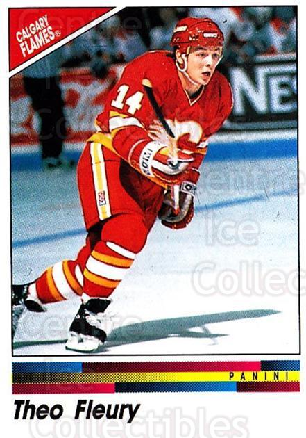 1990-91 Panini Stickers #176 Theo Fleury<br/>8 In Stock - $1.00 each - <a href=https://centericecollectibles.foxycart.com/cart?name=1990-91%20Panini%20Stickers%20%23176%20Theo%20Fleury...&quantity_max=8&price=$1.00&code=17910 class=foxycart> Buy it now! </a>