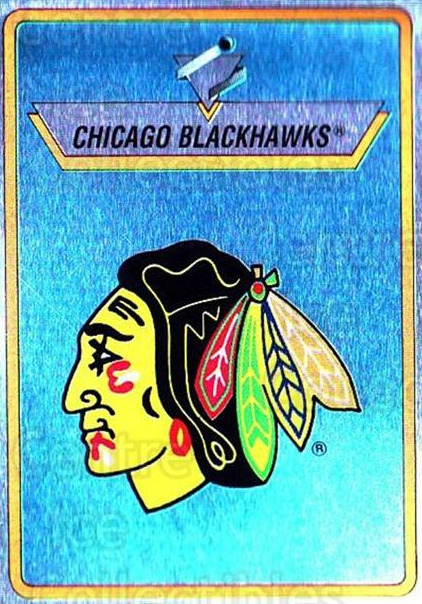 1990-91 Panini Stickers #195 Chicago Blackhawks<br/>8 In Stock - $1.00 each - <a href=https://centericecollectibles.foxycart.com/cart?name=1990-91%20Panini%20Stickers%20%23195%20Chicago%20Blackha...&quantity_max=8&price=$1.00&code=17931 class=foxycart> Buy it now! </a>