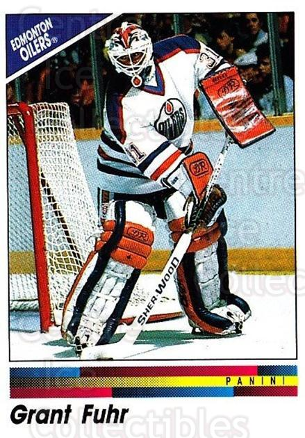 1990-91 Panini Stickers #230 Grant Fuhr<br/>10 In Stock - $1.00 each - <a href=https://centericecollectibles.foxycart.com/cart?name=1990-91%20Panini%20Stickers%20%23230%20Grant%20Fuhr...&quantity_max=10&price=$1.00&code=17967 class=foxycart> Buy it now! </a>