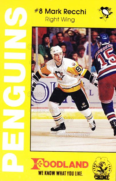 1990-91 Pittsburgh Penguins Foodland #6 Mark Recchi<br/>9 In Stock - $3.00 each - <a href=https://centericecollectibles.foxycart.com/cart?name=1990-91%20Pittsburgh%20Penguins%20Foodland%20%236%20Mark%20Recchi...&quantity_max=9&price=$3.00&code=17984 class=foxycart> Buy it now! </a>