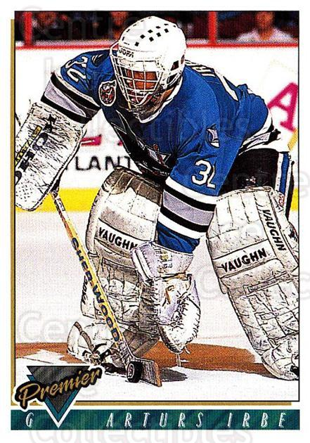 1993-94 Topps Premier #110 Arturs Irbe<br/>4 In Stock - $1.00 each - <a href=https://centericecollectibles.foxycart.com/cart?name=1993-94%20Topps%20Premier%20%23110%20Arturs%20Irbe...&quantity_max=4&price=$1.00&code=180261 class=foxycart> Buy it now! </a>