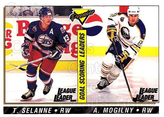 1993-94 Topps Premier #148 Alexander Mogilny, Teemu Selanne<br/>2 In Stock - $2.00 each - <a href=https://centericecollectibles.foxycart.com/cart?name=1993-94%20Topps%20Premier%20%23148%20Alexander%20Mogil...&quantity_max=2&price=$2.00&code=180301 class=foxycart> Buy it now! </a>