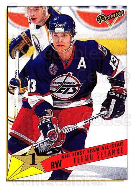 1993-94 Topps Premier #92 Teemu Selanne<br/>3 In Stock - $2.00 each - <a href=https://centericecollectibles.foxycart.com/cart?name=1993-94%20Topps%20Premier%20%2392%20Teemu%20Selanne...&quantity_max=3&price=$2.00&code=180729 class=foxycart> Buy it now! </a>