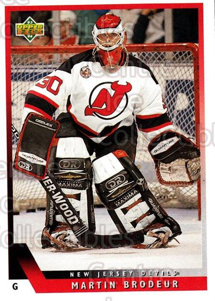 1993-94 Upper Deck #334 Martin Brodeur<br/>10 In Stock - $2.00 each - <a href=https://centericecollectibles.foxycart.com/cart?name=1993-94%20Upper%20Deck%20%23334%20Martin%20Brodeur...&price=$2.00&code=181415 class=foxycart> Buy it now! </a>