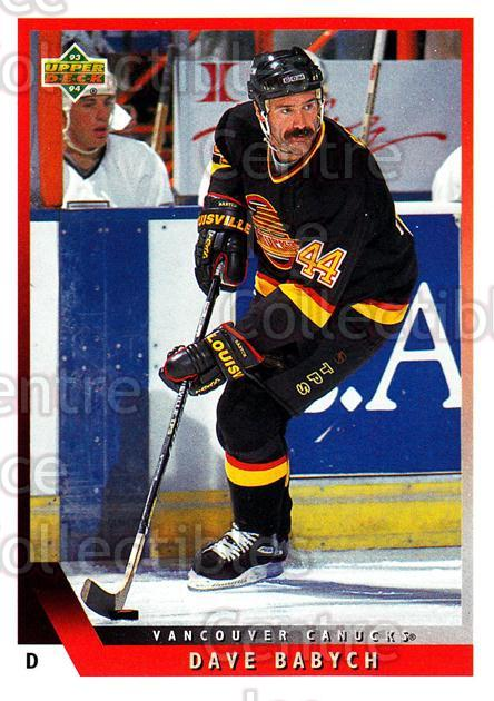 1993-94 Upper Deck #376 Dave Babych<br/>11 In Stock - $1.00 each - <a href=https://centericecollectibles.foxycart.com/cart?name=1993-94%20Upper%20Deck%20%23376%20Dave%20Babych...&quantity_max=11&price=$1.00&code=181461 class=foxycart> Buy it now! </a>