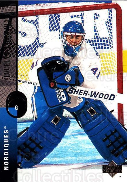 1994-95 Upper Deck #147 Jocelyn Thibault<br/>6 In Stock - $1.00 each - <a href=https://centericecollectibles.foxycart.com/cart?name=1994-95%20Upper%20Deck%20%23147%20Jocelyn%20Thibaul...&quantity_max=6&price=$1.00&code=183770 class=foxycart> Buy it now! </a>