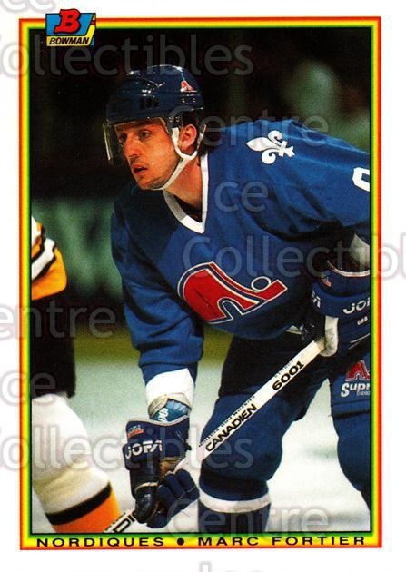 1990-91 Bowman Tiffany #167 Marc Fortier<br/>9 In Stock - $2.00 each - <a href=https://centericecollectibles.foxycart.com/cart?name=1990-91%20Bowman%20Tiffany%20%23167%20Marc%20Fortier...&quantity_max=9&price=$2.00&code=18415 class=foxycart> Buy it now! </a>