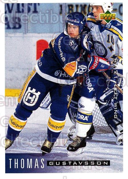 1995-96 Swedish Upper Deck #82 Thomas Gustavsson<br/>11 In Stock - $2.00 each - <a href=https://centericecollectibles.foxycart.com/cart?name=1995-96%20Swedish%20Upper%20Deck%20%2382%20Thomas%20Gustavss...&price=$2.00&code=184811 class=foxycart> Buy it now! </a>