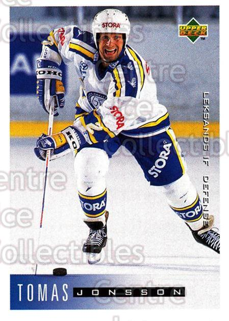 1995-96 Swedish Upper Deck #95 Tomas Jonsson<br/>10 In Stock - $2.00 each - <a href=https://centericecollectibles.foxycart.com/cart?name=1995-96%20Swedish%20Upper%20Deck%20%2395%20Tomas%20Jonsson...&quantity_max=10&price=$2.00&code=184820 class=foxycart> Buy it now! </a>