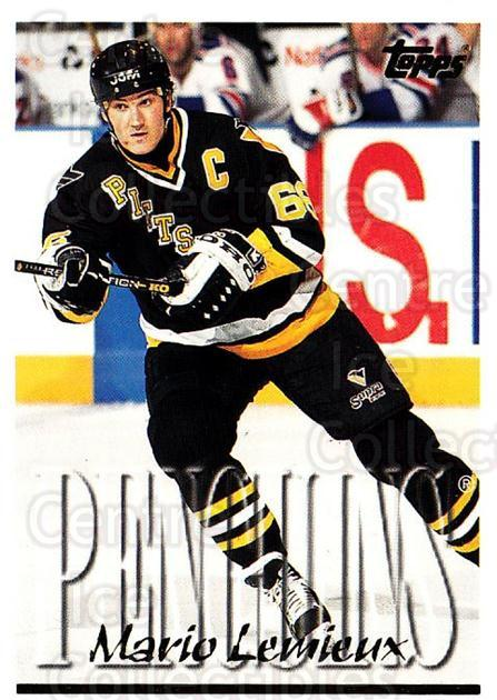 1995-96 Topps #100 Mario Lemieux<br/>3 In Stock - $2.00 each - <a href=https://centericecollectibles.foxycart.com/cart?name=1995-96%20Topps%20%23100%20Mario%20Lemieux...&quantity_max=3&price=$2.00&code=184827 class=foxycart> Buy it now! </a>