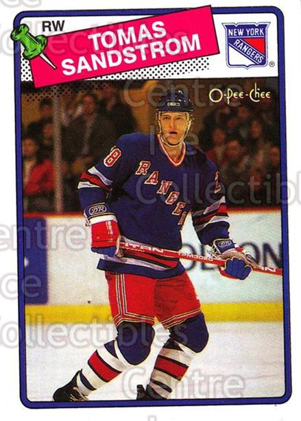 1988-89 O-Pee-Chee #121 Tomas Sandstrom<br/>10 In Stock - $1.00 each - <a href=https://centericecollectibles.foxycart.com/cart?name=1988-89%20O-Pee-Chee%20%23121%20Tomas%20Sandstrom...&quantity_max=10&price=$1.00&code=185 class=foxycart> Buy it now! </a>