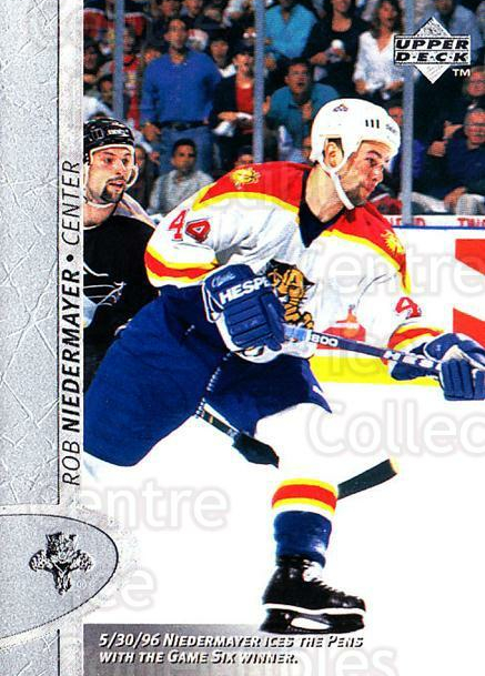 1996-97 Upper Deck #262 Rob Niedermayer<br/>6 In Stock - $1.00 each - <a href=https://centericecollectibles.foxycart.com/cart?name=1996-97%20Upper%20Deck%20%23262%20Rob%20Niedermayer...&quantity_max=6&price=$1.00&code=186362 class=foxycart> Buy it now! </a>