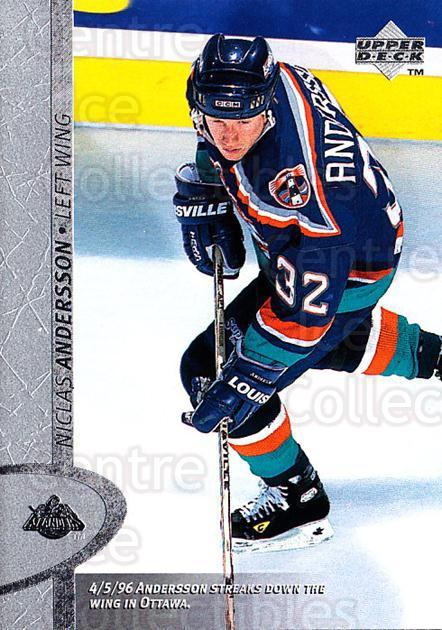 1996-97 Upper Deck #292 Niklas Andersson<br/>5 In Stock - $1.00 each - <a href=https://centericecollectibles.foxycart.com/cart?name=1996-97%20Upper%20Deck%20%23292%20Niklas%20Andersso...&quantity_max=5&price=$1.00&code=186395 class=foxycart> Buy it now! </a>