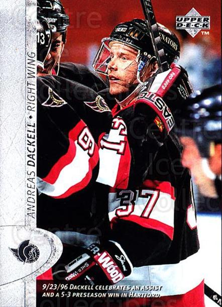 1996-97 Upper Deck #303 Andreas Dackell<br/>4 In Stock - $1.00 each - <a href=https://centericecollectibles.foxycart.com/cart?name=1996-97%20Upper%20Deck%20%23303%20Andreas%20Dackell...&quantity_max=4&price=$1.00&code=186408 class=foxycart> Buy it now! </a>
