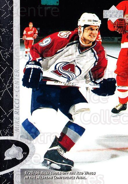 1996-97 Upper Deck #36 Mike Ricci<br/>8 In Stock - $1.00 each - <a href=https://centericecollectibles.foxycart.com/cart?name=1996-97%20Upper%20Deck%20%2336%20Mike%20Ricci...&quantity_max=8&price=$1.00&code=186470 class=foxycart> Buy it now! </a>