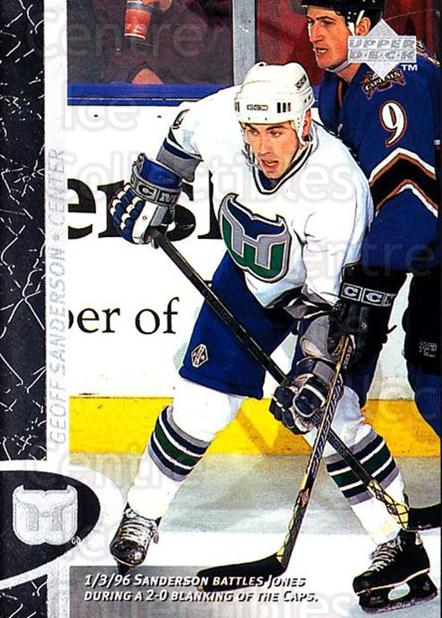 1996-97 Upper Deck #75 Geoff Sanderson<br/>7 In Stock - $1.00 each - <a href=https://centericecollectibles.foxycart.com/cart?name=1996-97%20Upper%20Deck%20%2375%20Geoff%20Sanderson...&quantity_max=7&price=$1.00&code=186535 class=foxycart> Buy it now! </a>