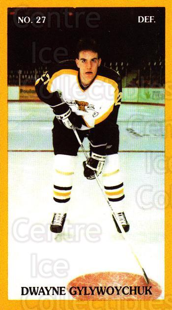1990-91 Brandon Wheat Kings #13 Dwayne Gylywoychuk<br/>4 In Stock - $3.00 each - <a href=https://centericecollectibles.foxycart.com/cart?name=1990-91%20Brandon%20Wheat%20Kings%20%2313%20Dwayne%20Gylywoyc...&quantity_max=4&price=$3.00&code=18674 class=foxycart> Buy it now! </a>