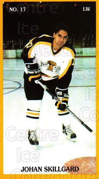 1990-91 Brandon Wheat Kings #16 Johan Skillgard<br/>2 In Stock - $3.00 each - <a href=https://centericecollectibles.foxycart.com/cart?name=1990-91%20Brandon%20Wheat%20Kings%20%2316%20Johan%20Skillgard...&quantity_max=2&price=$3.00&code=18676 class=foxycart> Buy it now! </a>