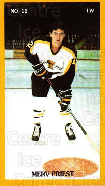1990-91 Brandon Wheat Kings #2 Merv Priest<br/>4 In Stock - $3.00 each - <a href=https://centericecollectibles.foxycart.com/cart?name=1990-91%20Brandon%20Wheat%20Kings%20%232%20Merv%20Priest...&quantity_max=4&price=$3.00&code=18679 class=foxycart> Buy it now! </a>