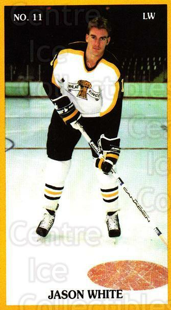 1990-91 Brandon Wheat Kings #22 Jason White<br/>3 In Stock - $3.00 each - <a href=https://centericecollectibles.foxycart.com/cart?name=1990-91%20Brandon%20Wheat%20Kings%20%2322%20Jason%20White...&quantity_max=3&price=$3.00&code=18682 class=foxycart> Buy it now! </a>