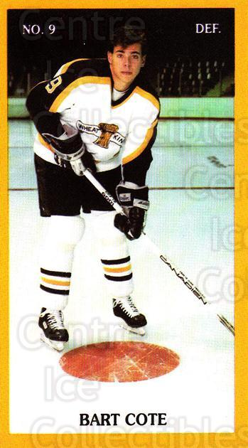 1990-91 Brandon Wheat Kings #4 Bart Cote<br/>1 In Stock - $3.00 each - <a href=https://centericecollectibles.foxycart.com/cart?name=1990-91%20Brandon%20Wheat%20Kings%20%234%20Bart%20Cote...&quantity_max=1&price=$3.00&code=18685 class=foxycart> Buy it now! </a>