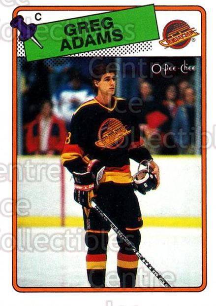 1988-89 O-Pee-Chee #162 Greg Adams<br/>12 In Stock - $1.00 each - <a href=https://centericecollectibles.foxycart.com/cart?name=1988-89%20O-Pee-Chee%20%23162%20Greg%20Adams...&quantity_max=12&price=$1.00&code=186 class=foxycart> Buy it now! </a>