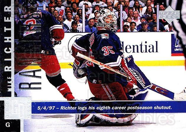 1997-98 Upper Deck #107 Mike Richter<br/>4 In Stock - $1.00 each - <a href=https://centericecollectibles.foxycart.com/cart?name=1997-98%20Upper%20Deck%20%23107%20Mike%20Richter...&quantity_max=4&price=$1.00&code=187582 class=foxycart> Buy it now! </a>