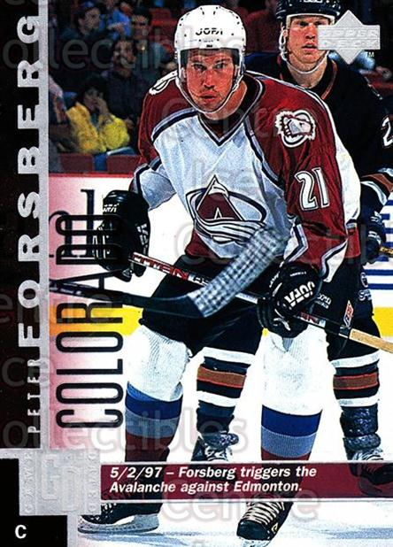 1997-98 Upper Deck #252 Peter Forsberg<br/>15 In Stock - $1.00 each - <a href=https://centericecollectibles.foxycart.com/cart?name=1997-98%20Upper%20Deck%20%23252%20Peter%20Forsberg...&quantity_max=15&price=$1.00&code=187739 class=foxycart> Buy it now! </a>
