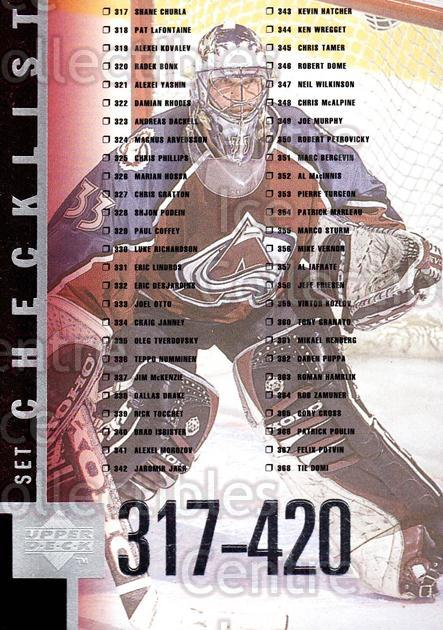 1997-98 Upper Deck #420 Patrick Roy, Checklist<br/>11 In Stock - $2.00 each - <a href=https://centericecollectibles.foxycart.com/cart?name=1997-98%20Upper%20Deck%20%23420%20Patrick%20Roy,%20Ch...&quantity_max=11&price=$2.00&code=187916 class=foxycart> Buy it now! </a>