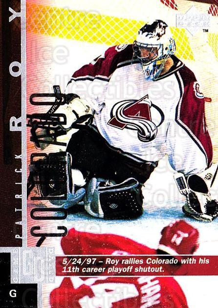 1997-98 Upper Deck #43 Patrick Roy<br/>2 In Stock - $2.00 each - <a href=https://centericecollectibles.foxycart.com/cart?name=1997-98%20Upper%20Deck%20%2343%20Patrick%20Roy...&quantity_max=2&price=$2.00&code=187917 class=foxycart> Buy it now! </a>