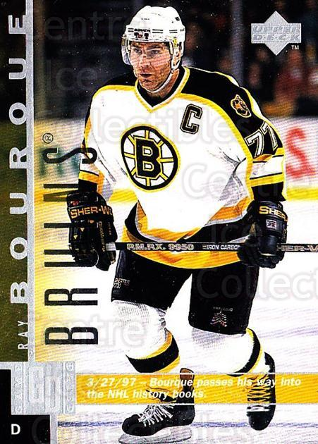 1997-98 Upper Deck #9 Ray Bourque<br/>2 In Stock - $1.00 each - <a href=https://centericecollectibles.foxycart.com/cart?name=1997-98%20Upper%20Deck%20%239%20Ray%20Bourque...&quantity_max=2&price=$1.00&code=187966 class=foxycart> Buy it now! </a>