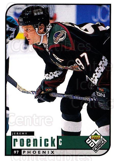 1998-99 UD Choice #158 Jeremy Roenick<br/>6 In Stock - $1.00 each - <a href=https://centericecollectibles.foxycart.com/cart?name=1998-99%20UD%20Choice%20%23158%20Jeremy%20Roenick...&quantity_max=6&price=$1.00&code=189693 class=foxycart> Buy it now! </a>