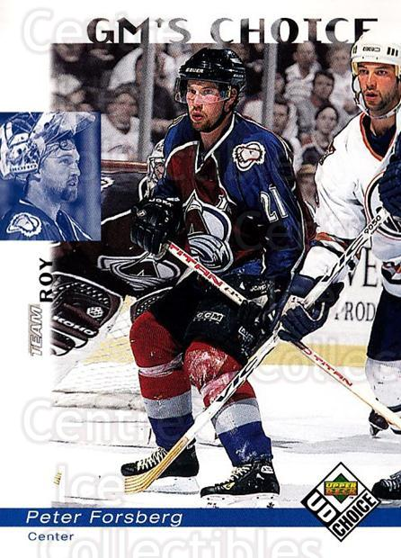 1998-99 UD Choice #229 Peter Forsberg, Patrick Roy<br/>3 In Stock - $2.00 each - <a href=https://centericecollectibles.foxycart.com/cart?name=1998-99%20UD%20Choice%20%23229%20Peter%20Forsberg,...&quantity_max=3&price=$2.00&code=189768 class=foxycart> Buy it now! </a>
