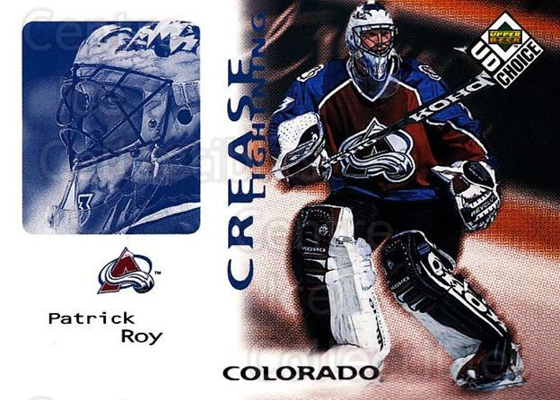 1998-99 UD Choice #243 Patrick Roy<br/>5 In Stock - $2.00 each - <a href=https://centericecollectibles.foxycart.com/cart?name=1998-99%20UD%20Choice%20%23243%20Patrick%20Roy...&quantity_max=5&price=$2.00&code=189784 class=foxycart> Buy it now! </a>