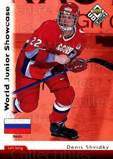 1998-99 UD Choice #286 Denis Shvidki<br/>3 In Stock - $1.00 each - <a href=https://centericecollectibles.foxycart.com/cart?name=1998-99%20UD%20Choice%20%23286%20Denis%20Shvidki...&quantity_max=3&price=$1.00&code=189826 class=foxycart> Buy it now! </a>