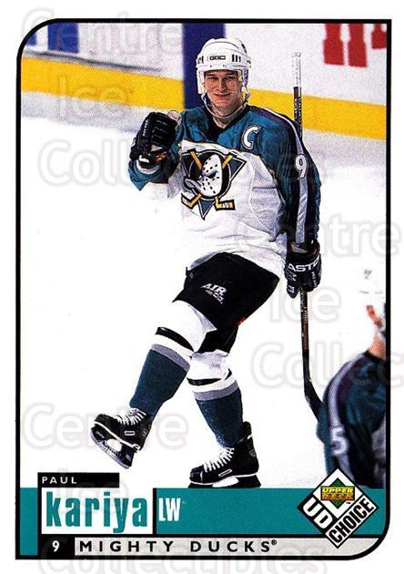 1998-99 UD Choice #4 Paul Kariya<br/>5 In Stock - $1.00 each - <a href=https://centericecollectibles.foxycart.com/cart?name=1998-99%20UD%20Choice%20%234%20Paul%20Kariya...&quantity_max=5&price=$1.00&code=189859 class=foxycart> Buy it now! </a>