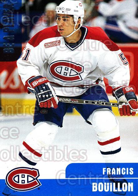 1999-00 BAP Memorabilia #331 Francis Bouillon<br/>13 In Stock - $1.00 each - <a href=https://centericecollectibles.foxycart.com/cart?name=1999-00%20BAP%20Memorabilia%20%23331%20Francis%20Bouillo...&quantity_max=13&price=$1.00&code=190427 class=foxycart> Buy it now! </a>