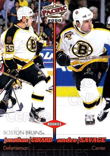 1999-00 Pacific #32 Jonathan Girard, Andre Savage<br/>3 In Stock - $1.00 each - <a href=https://centericecollectibles.foxycart.com/cart?name=1999-00%20Pacific%20%2332%20Jonathan%20Girard...&quantity_max=3&price=$1.00&code=191049 class=foxycart> Buy it now! </a>