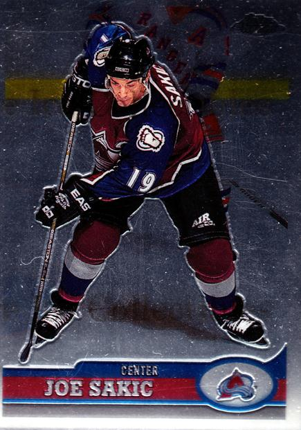 1999-00 Topps Chrome #1 Joe Sakic<br/>3 In Stock - $2.00 each - <a href=https://centericecollectibles.foxycart.com/cart?name=1999-00%20Topps%20Chrome%20%231%20Joe%20Sakic...&quantity_max=3&price=$2.00&code=192517 class=foxycart> Buy it now! </a>